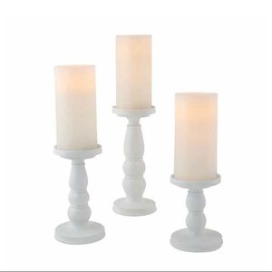 3 PC Set of White Pillar Candle Holders